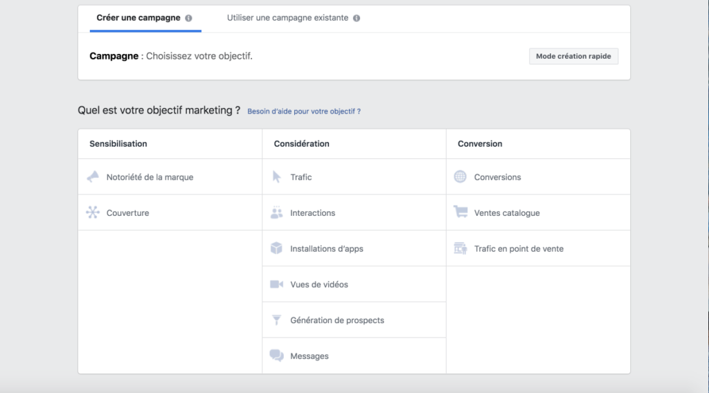Objectif marketing - Facebook Ads