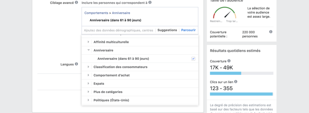 Ciblage comportemental Facebook Ads