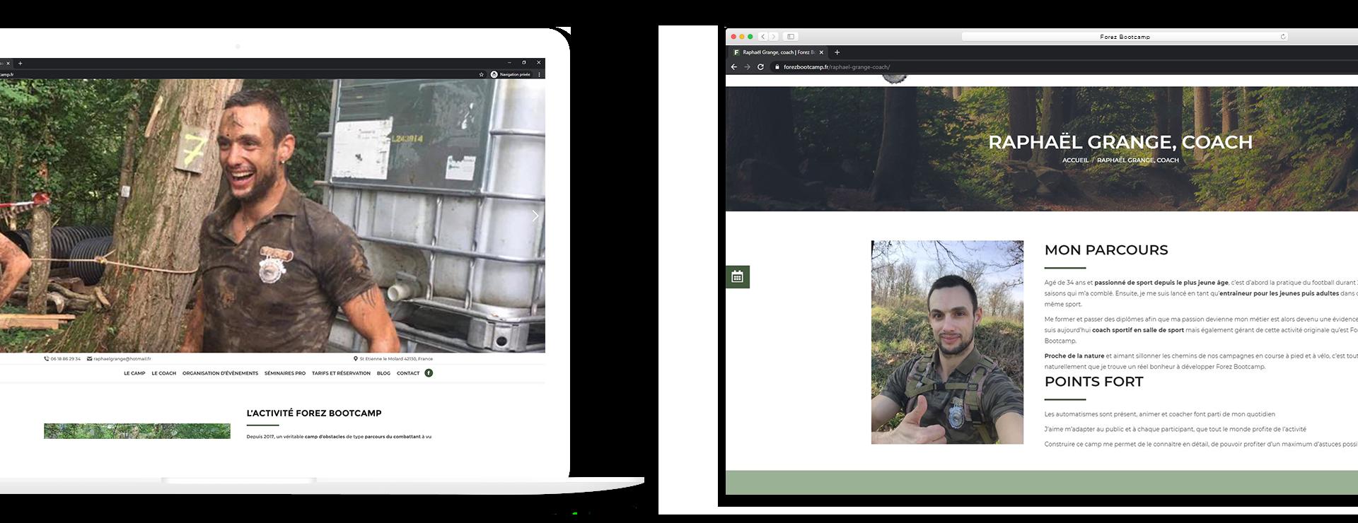mockup réalisation site Forez-Bootcamp