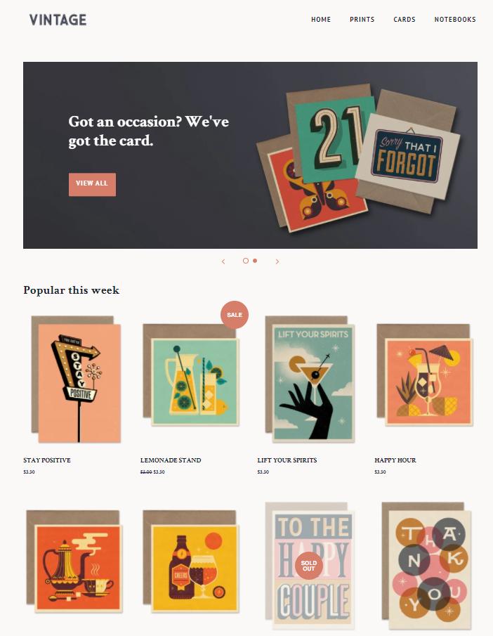 Page d'accueil - shopify
