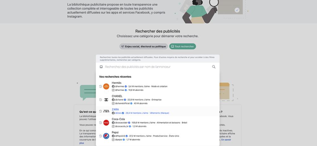 bibliothèque publicitaire facebook - barre de recherche